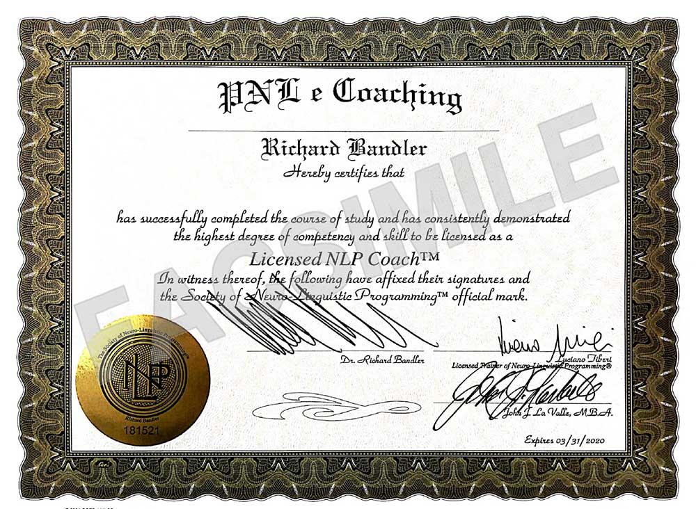 Attestato NLP coach NLP society