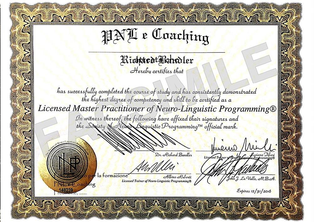 attestato master practitioner nlp society