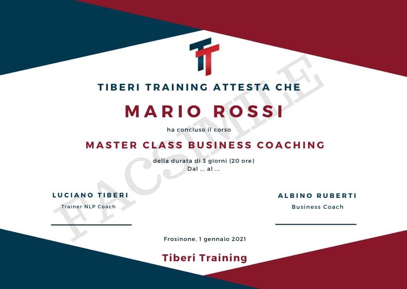 attestato master class business coaching