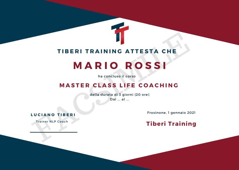 attestato master class life coaching