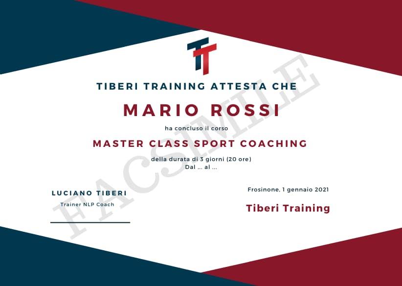 attestato master class sport coaching