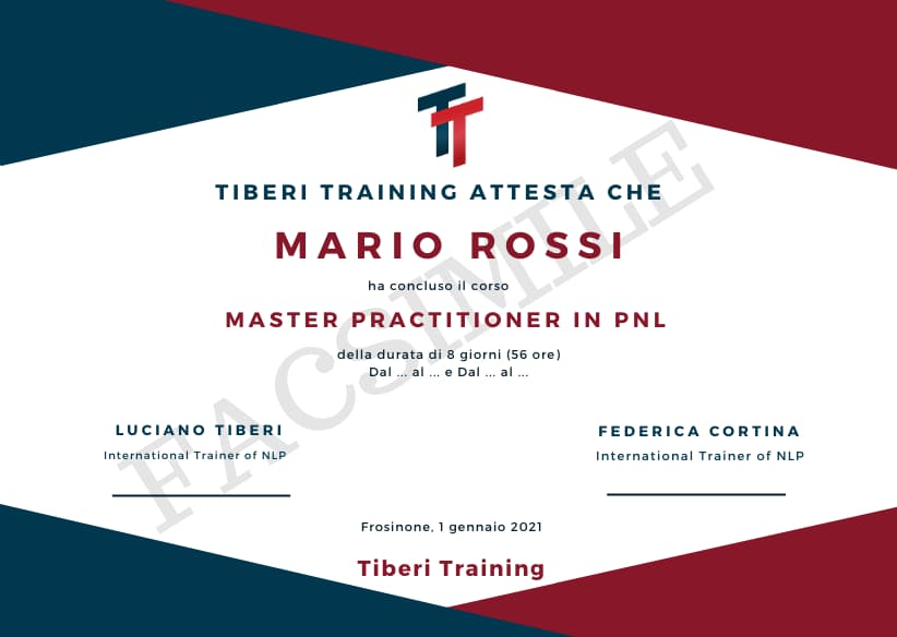 attestato master practitioner in pnl