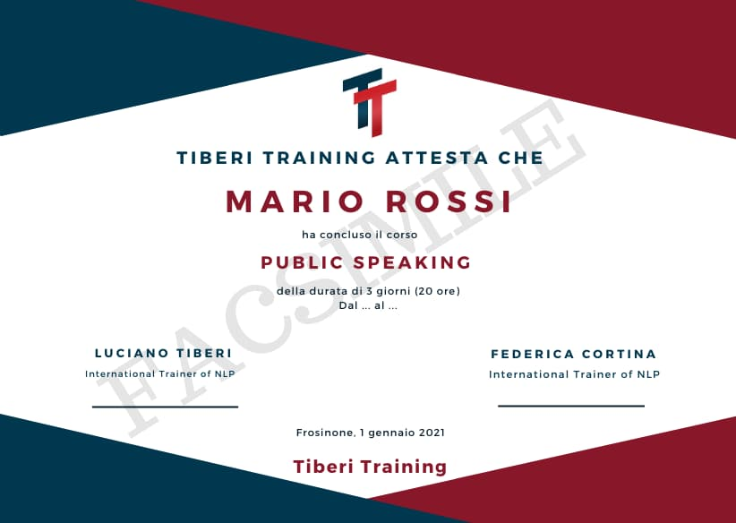 attestato public speaking